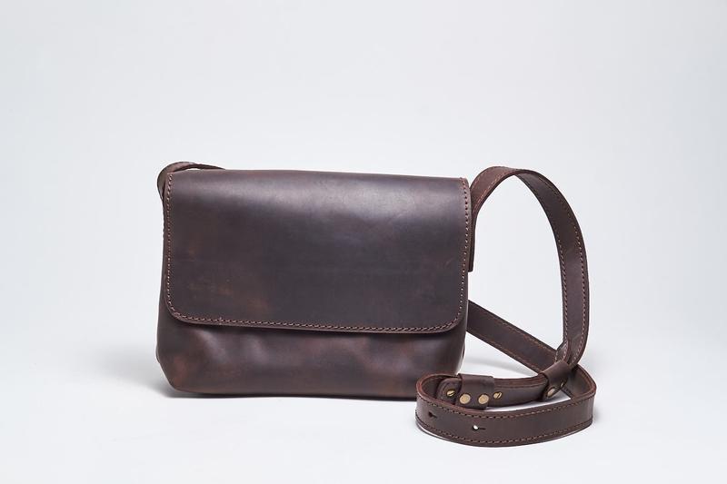 """Кожаная коричневая женская сумка кросс-боди с косметичкой """"CrossBody"""" от «pan Krepko»"""