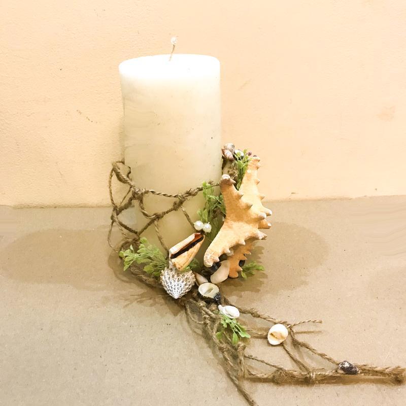 Декор для свечи в морском стиле с ракушками и морскими звездами