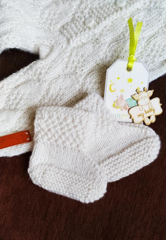 Комбинезон детский с капюшоном вязаный белый