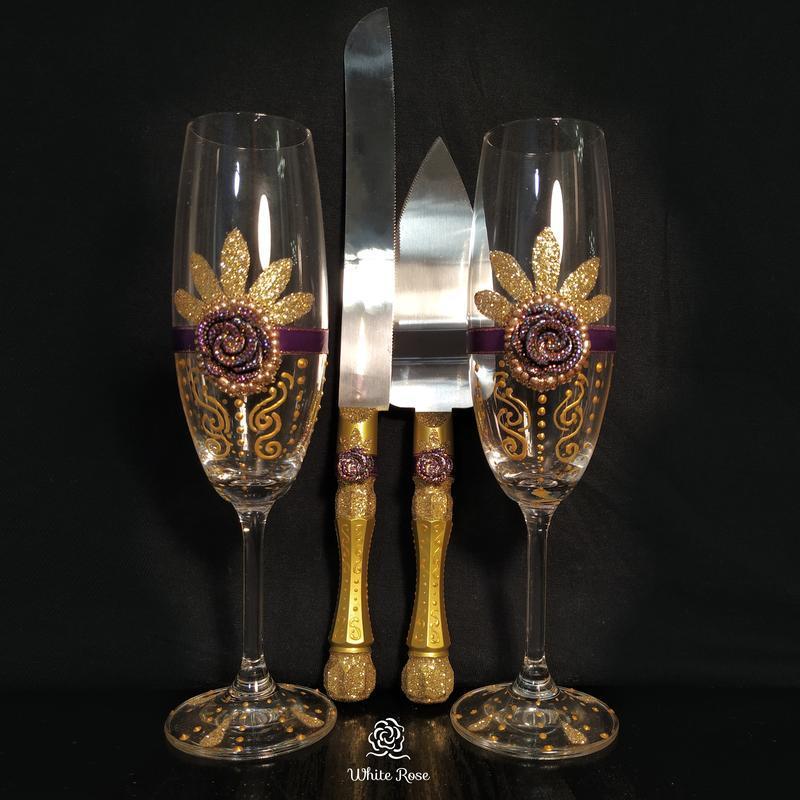 Свадебный набор, свадебные бокалы, венчальные свечи, нож и лопатка для свадебного торта
