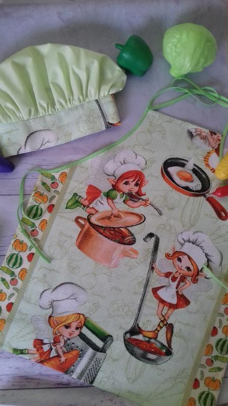 Детский фартук и колпак, костюм повара детский