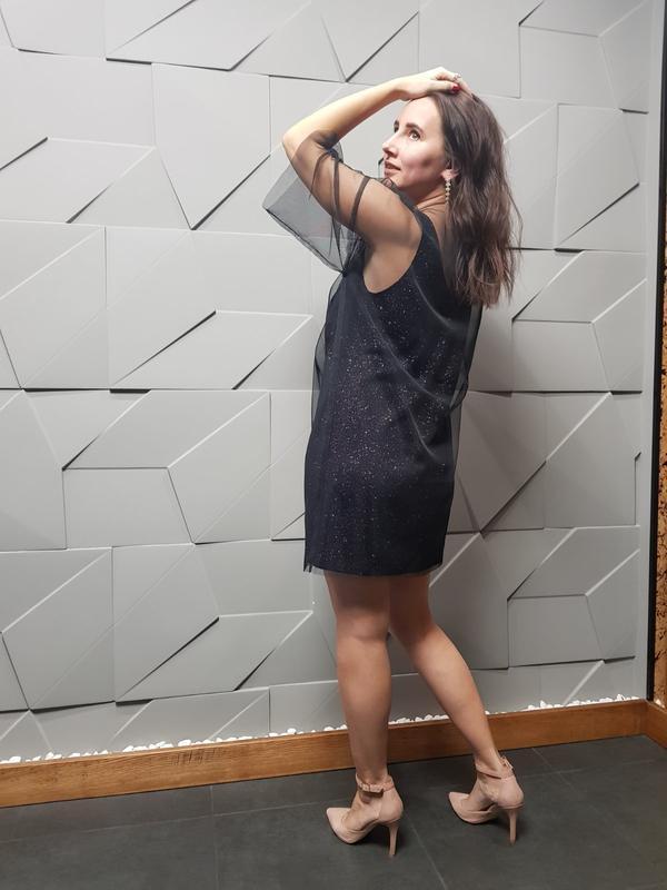 Платье сетка, платье фатин, платье шифон, чёрное платье, вечернее платье, платье двойка