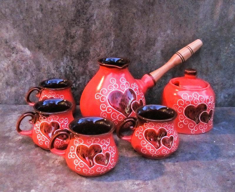 Набор кофейный на 4 персоны Капля 500 мл. декор Сердце красный