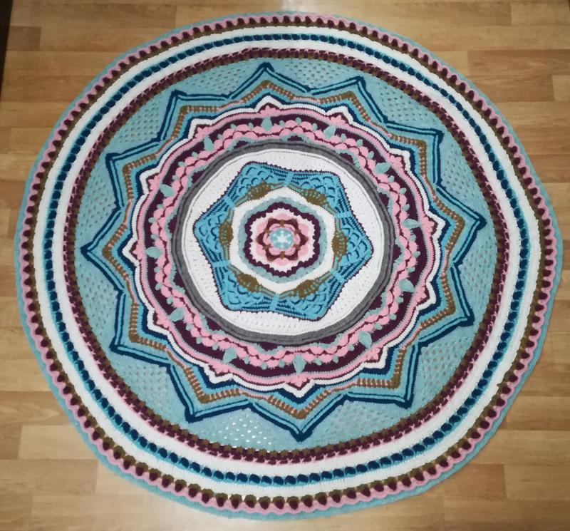 Ексклюзивний килим ручної роботи, діаметр 1,5, круглий килим у східному стилі в'язаний