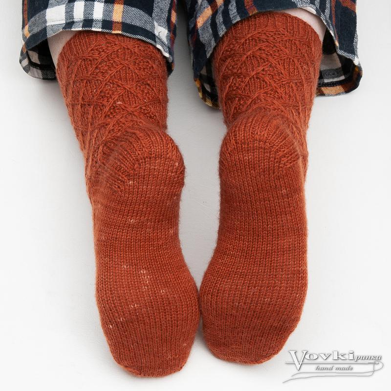 Носки вязаные шерстяные унисекс терракотовые