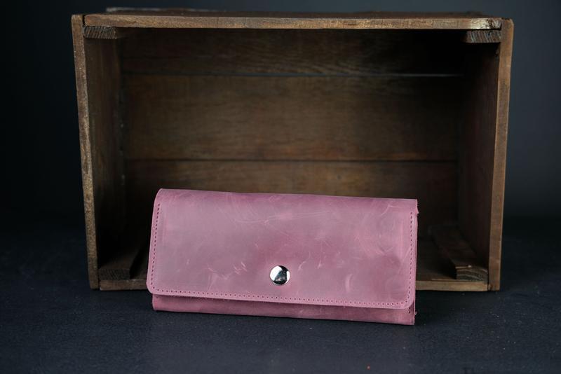 Кожаный кошелек на 12 карт, кожа Crazy Horse, цвет Бордо