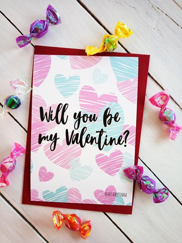 """Открытка """"Will you be my Valentine?"""""""