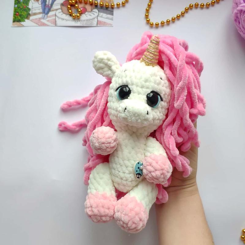 Плюшевая игрушка Единорожка с розовой гривой