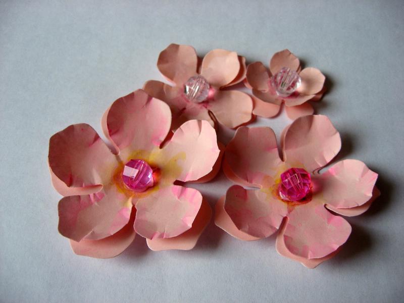 Набор розовых цветов для скрапбукинга. От 30 до 60 мм