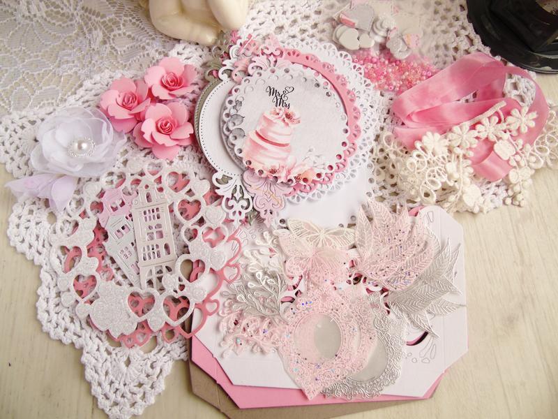 Набор для творчества (скрапбукинг) вырубка, эмбосинг, лента, кружево, цветы, бисер