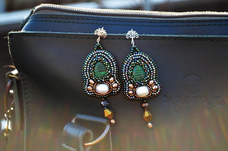 Малахитовые серьги, Зеленые серьги, Длинные бисерные серьги с жемчугом, Серьги с камнем