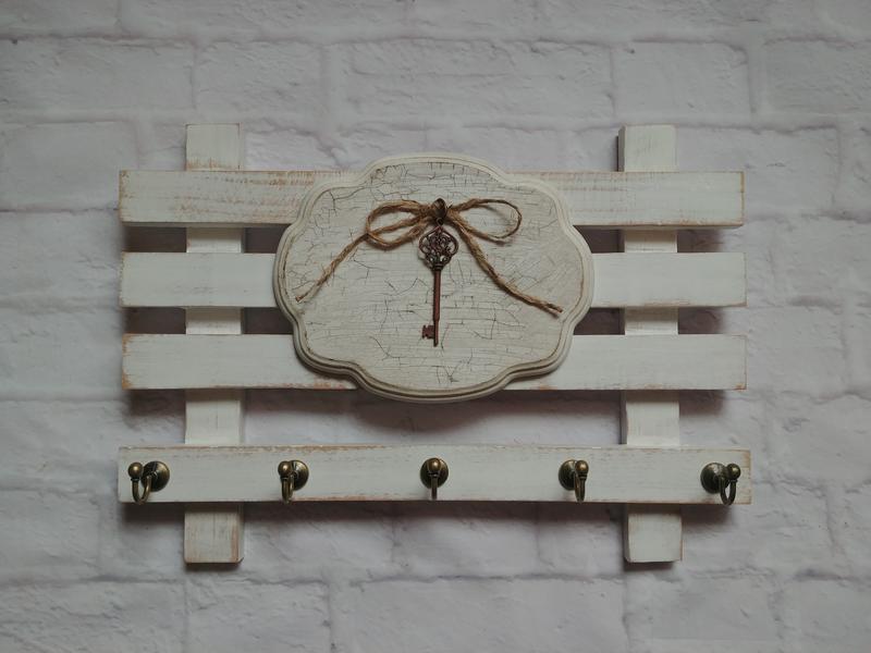 Белая деревянная ключница для прихожей Органайзер для ключей в стиле винтаж прованс