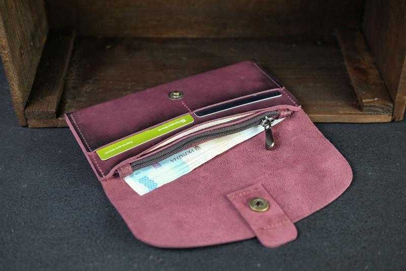 "Кожаный кошелек, Клатч ""Баттерфляй 2"", кожа краст, цвет Бордо"