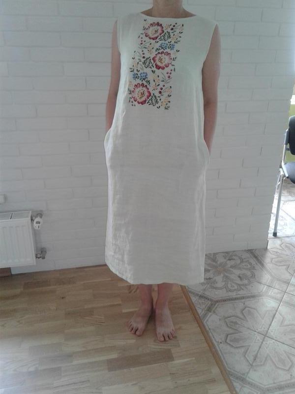 Платье-сарафан из льна