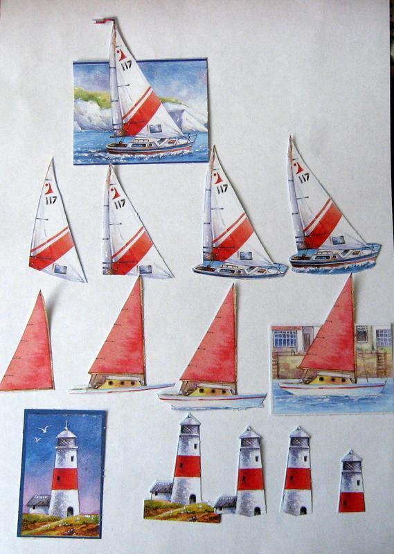 Набор бумажных заготовок для открытки, морская тема