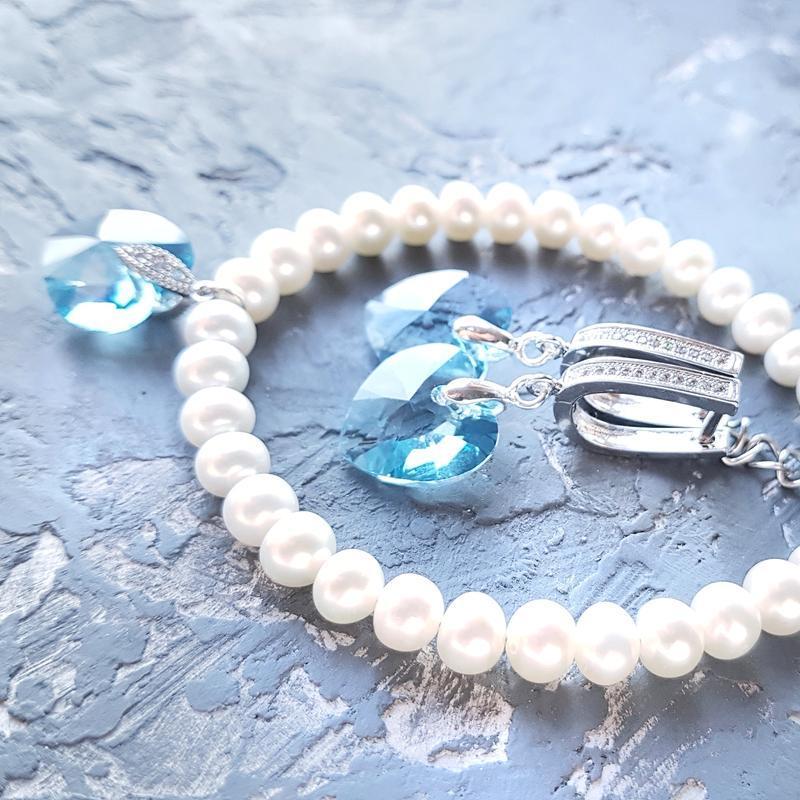 Натуральный жемчуг и Swarovski комплект браслет и серьги подарок на 8 марта девушке