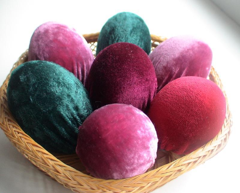Пасхальный декор,Бархатные яйца.