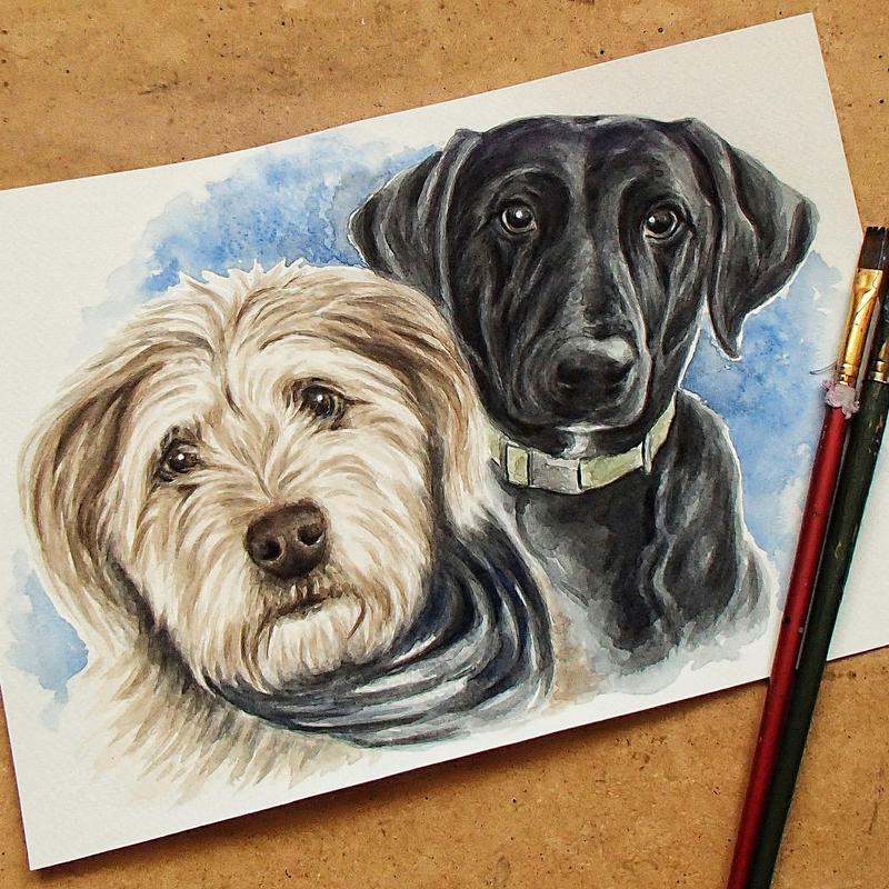 Портрет двух домашних любимцев, акварель, А3