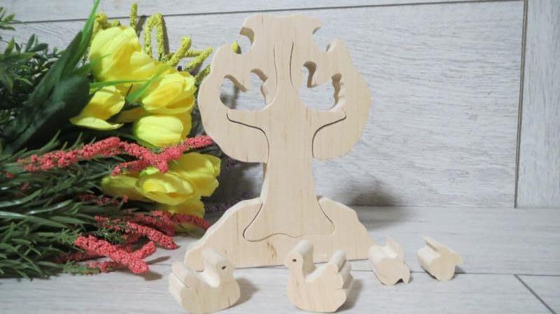 Деревянная игрушка пазл дерево Птицы яблоки