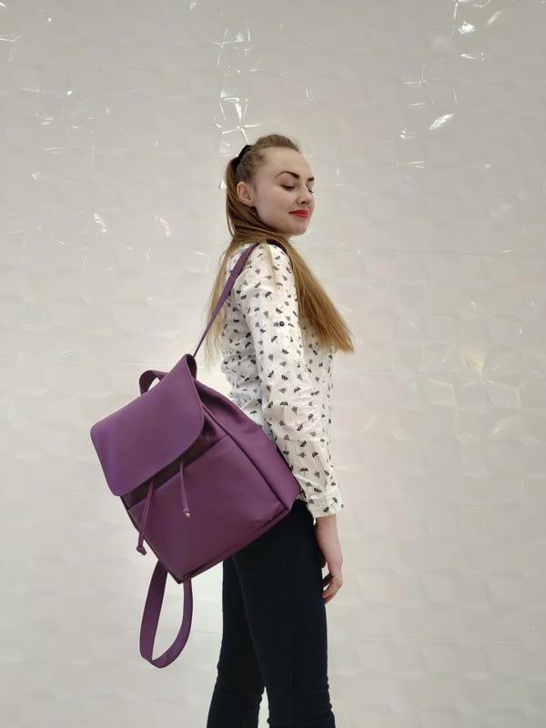 Женский фиолетовый рюкзак, экокожа