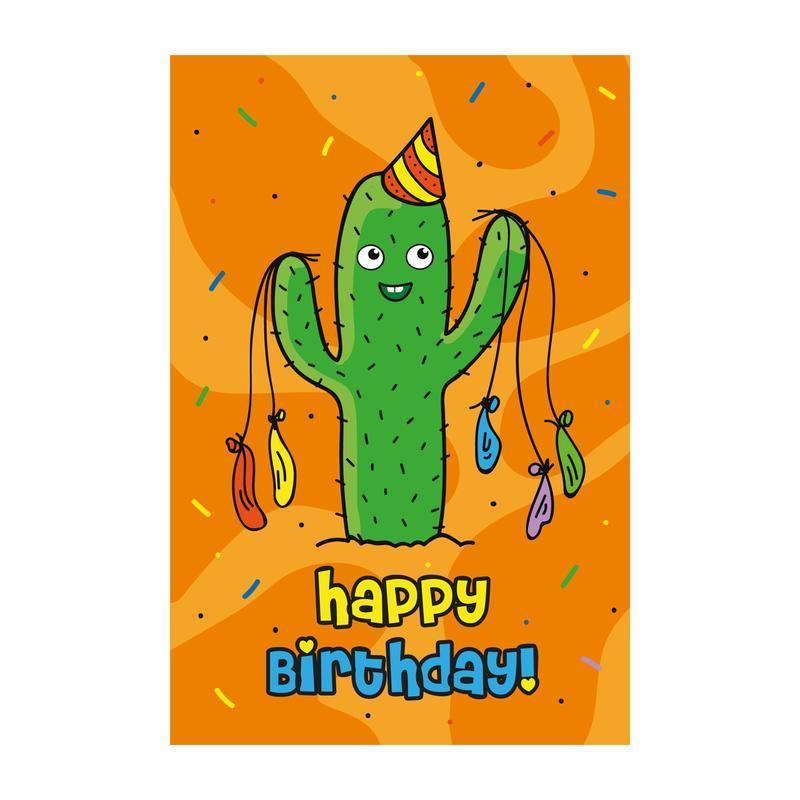 Открытка Happy birthday - кактус оранжевый