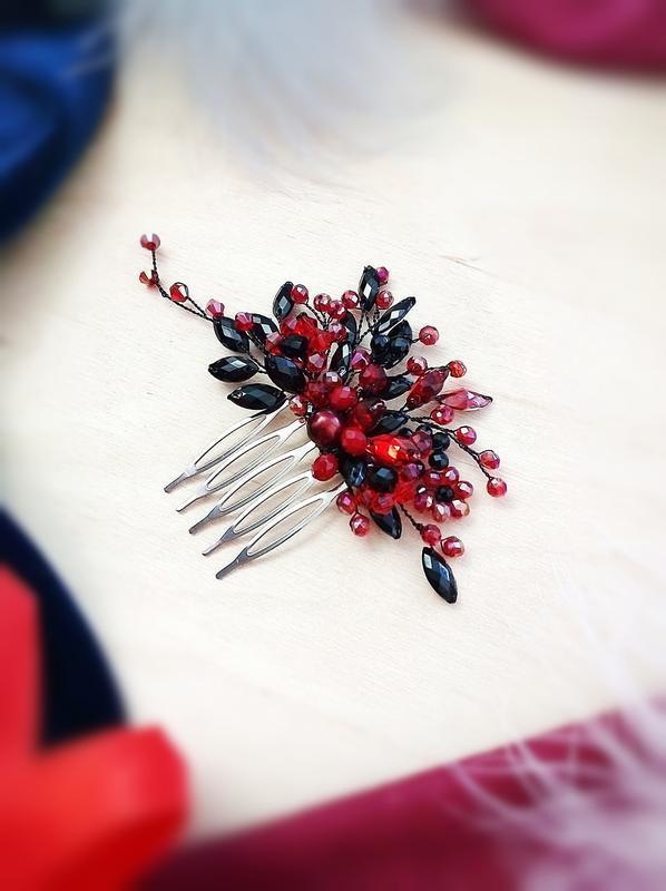 Красное и черное - заколка гребень для волос , бесплатная доставка Укрпочтой