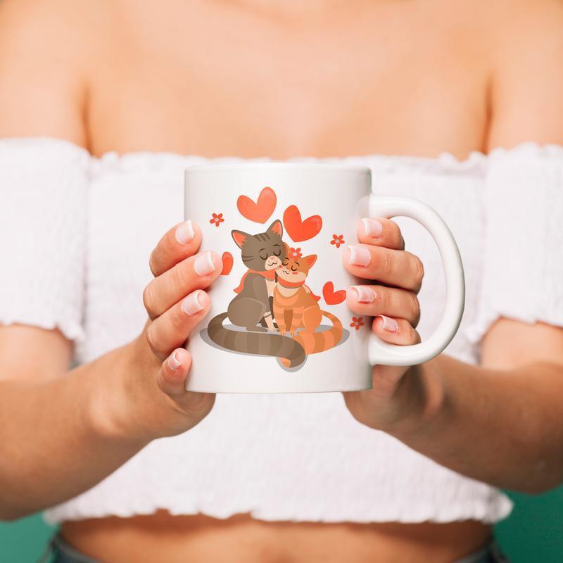 """Чашка с принтом """"Влюбленные коты"""""""