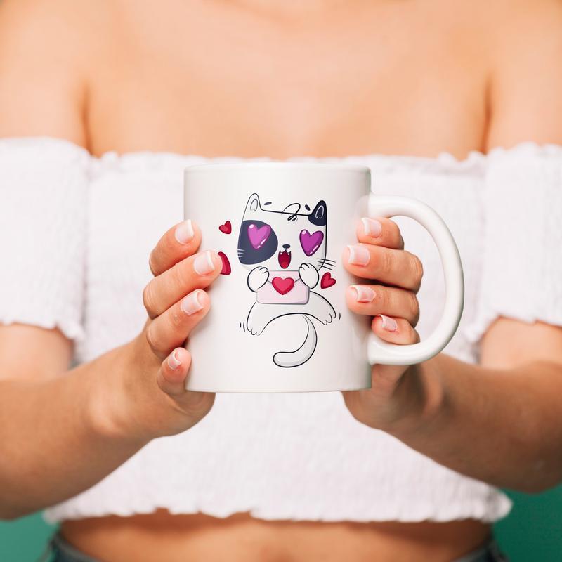 """Чашка с принтом """"Счастливый кот"""""""