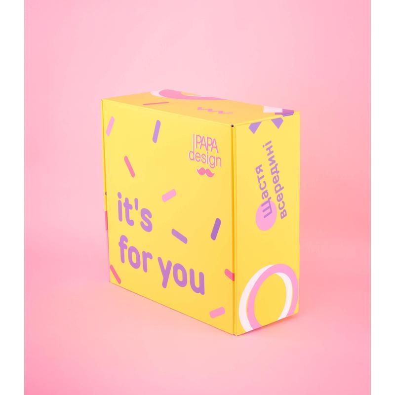 Подарочный ВОХ М желто- розовый №4