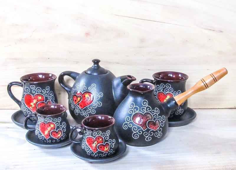 Сервиз чайно-кофейный на 2 персоны декор Сердце черный