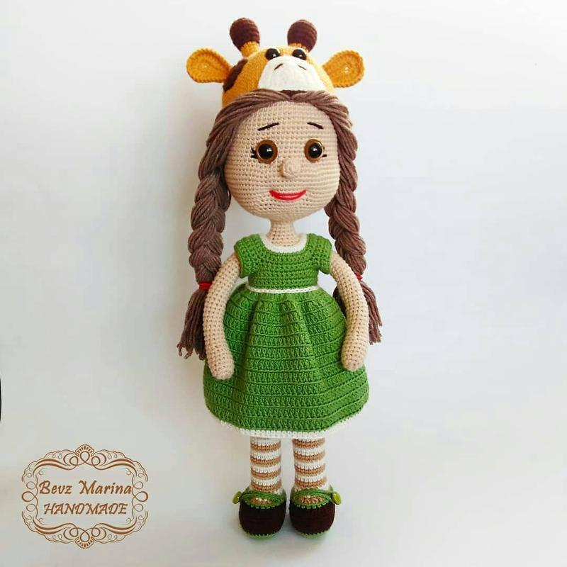 Giraffe girl Вязанная кукла с другом жирафиком, эко игрушки