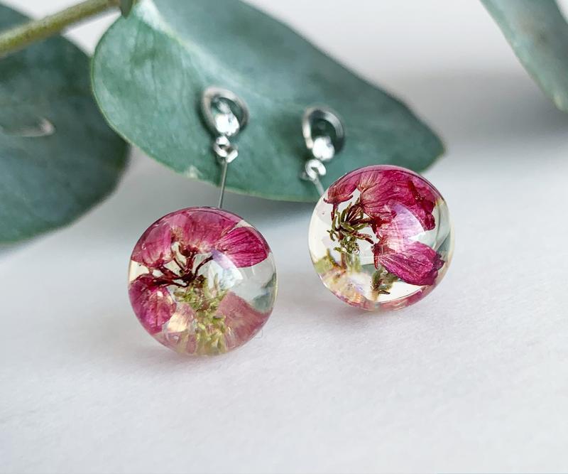 Длинные серьги с вереском. Украшения с цветами и растениями. (модель № 2554) Glassy Flowers