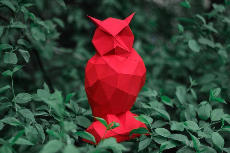 Наборы для создания 3д фигур Оригами Паперкрафт Бумажная модель Papercraft Сова