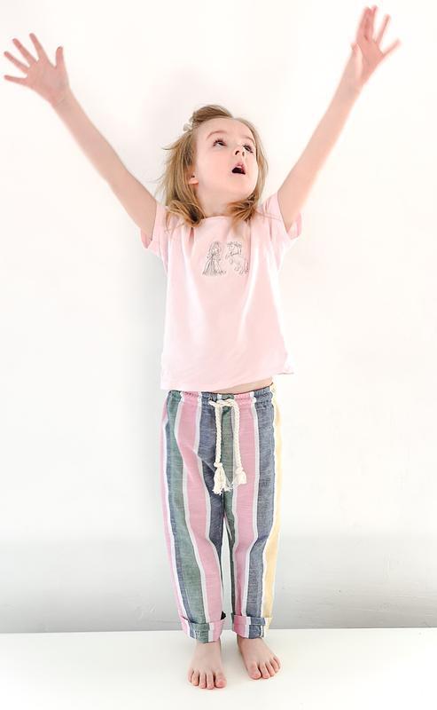 Детские брюки из льна / полосатые льняные штаны