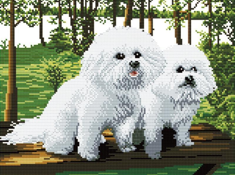 """Набор для вышивки крестом   """"Собачки"""" размер картины 37*27,5 см"""