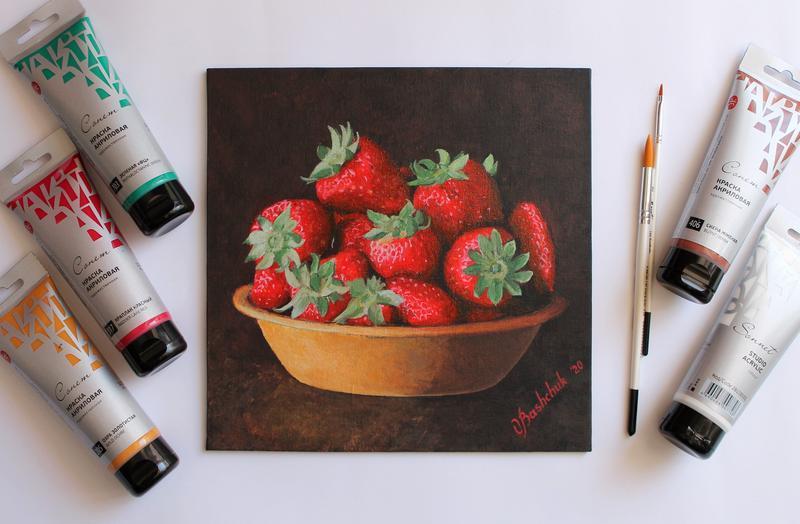 Картина акрилом ''Sweet strawberies'' , клубника, полуниця