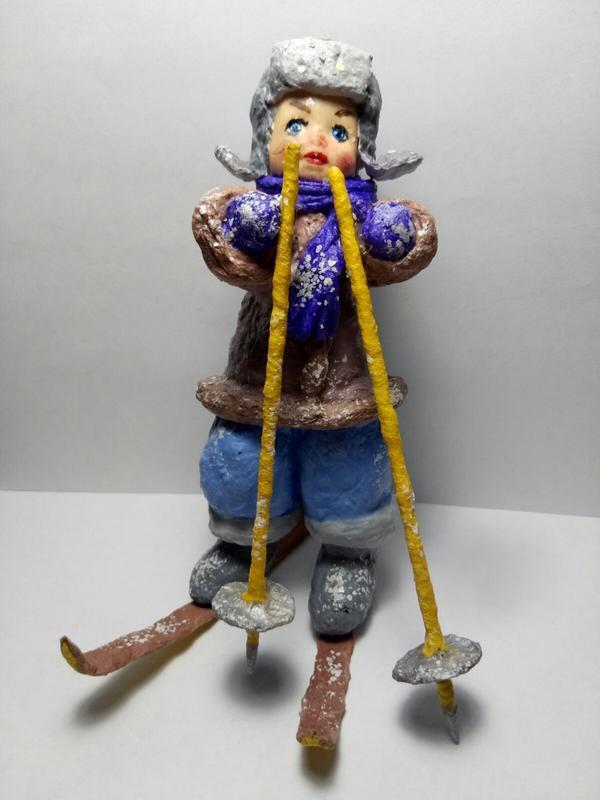 Игрушка из ваты *Мальчик на лыжах*