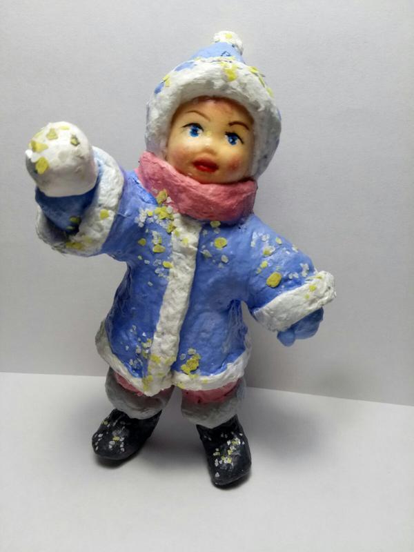 Игрушка из ваты *Девочка со снежком*