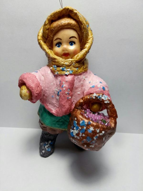 Игрушка из ваты *Девочка с корзинкой*