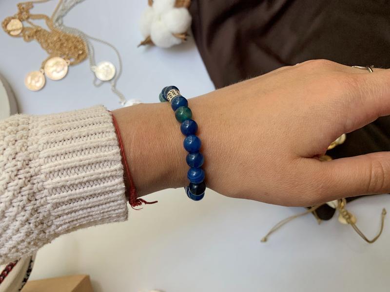 Женский браслет из натурального камня синий агат