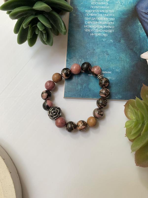 Женский браслет  из натурального камня родонит