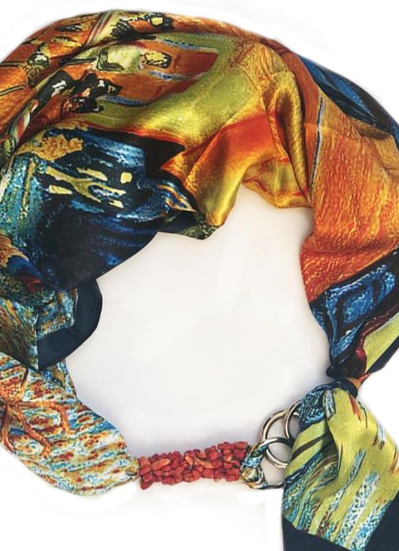 Атласный платок ,,Весенняя гроза,, от бренда My Scarf, шейный платок, подарок женщине
