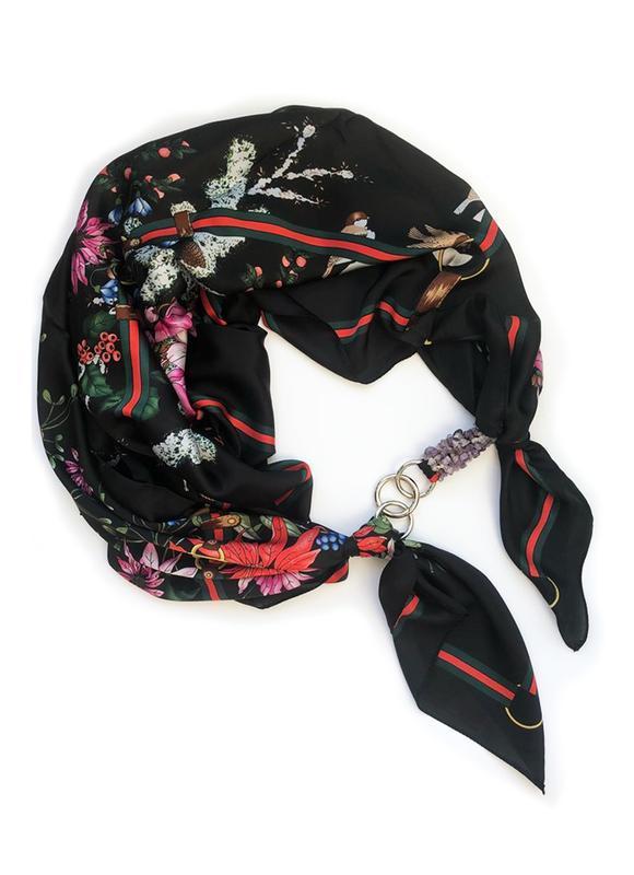 Шелковый платок ,,Блэк Баккара ,, от бренда My Scarf,подарок женщине