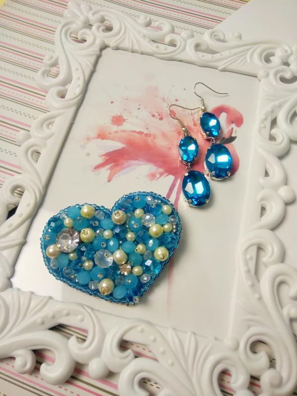 Брошка Морозное сердце + серьги