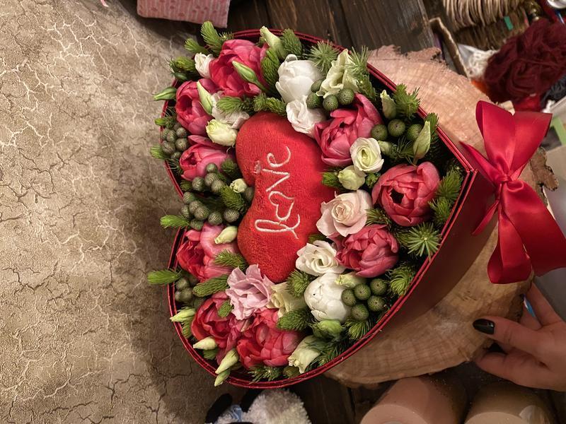 Коробка с тюльпанами Люблю