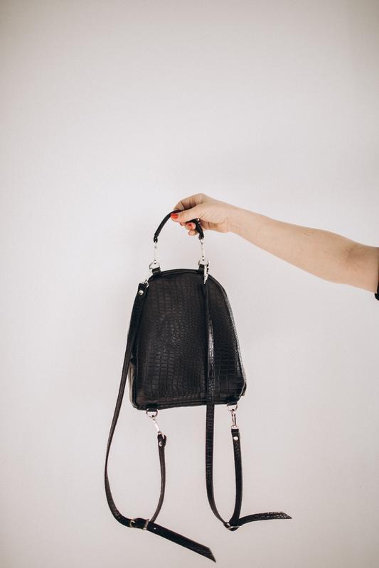 Кожаный рюкзак-трансформер из крокодила, черный рюкзак, сумка рюкзак из натуральной кожи