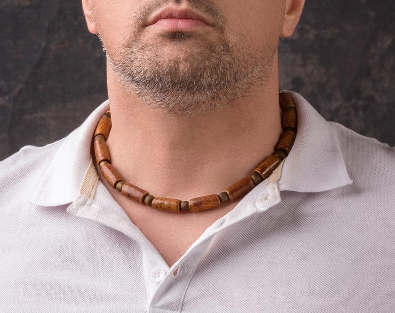 """Коричневое мужское ожерелье из керамики """"Harris Hawk"""""""
