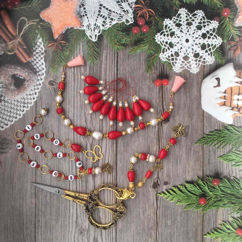Подарочный набор (маркеры для вязания , наконечники, счетчик, маячок, ножницы )
