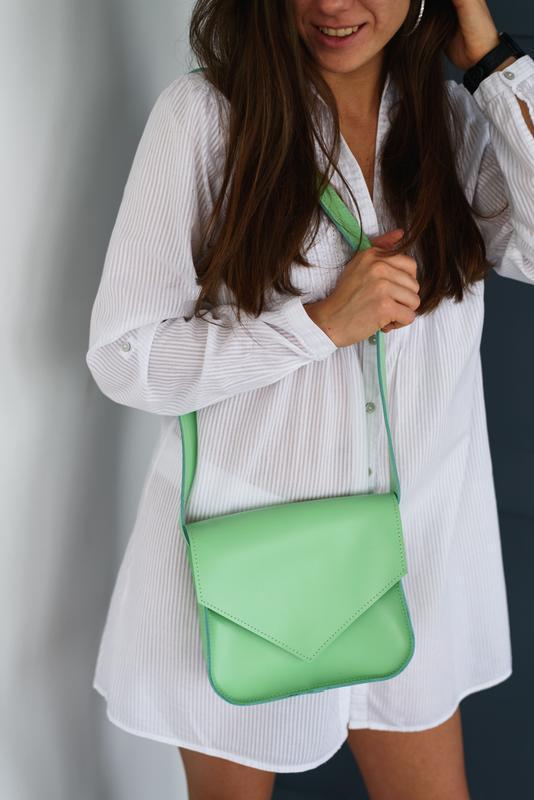 Женская зеленая кожаная сумка. Стильная повседневная зеленая сумка. Мятная сумка. Кожаная сумка
