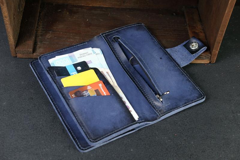 Кожаный кошелек Нова, кожа итальянский краст, цвет Синий